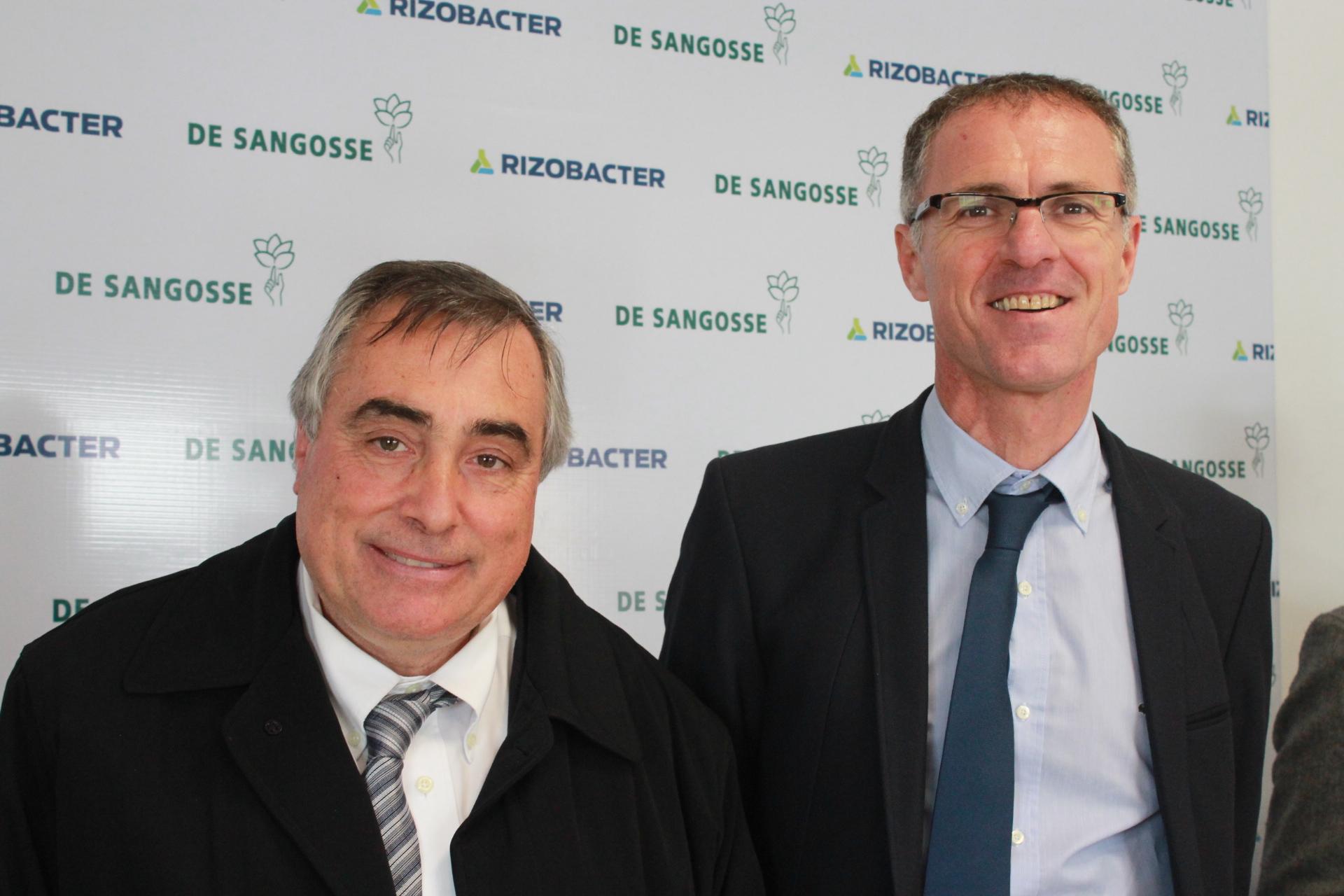 Ricardo Yapur, CEO de la empresa de Pergamino y Nicolás Fillon, CEO del grupo De Sangosse
